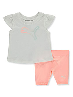 Baby Girls' 2-Piece Bike Shorts Set Outfit by Puma in White/multi - $21.00