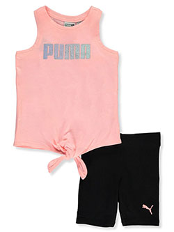 Baby Girls' 2-Piece Bike Shorts Set Outfit by Puma in Orange - $21.00