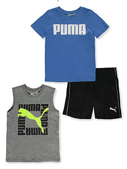 Boys' 3-Piece Shorts Set Outfit by Puma in blue and red, Boys Fashion