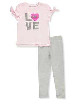 Glitter Love 2-Piece Leggings Set Outfit by DKNY in Medium heather gray