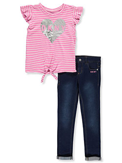 Stripes and Denim 2-Piece Jeans Set Outfit by DKNY in Fuchsia pink