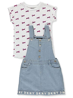Girls' Denim Skirtall 2-Piece Set Outfit by DKNY in Partridge