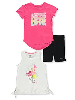 Flamingo Love 3-Piece Bike Shorts Set Outfit by DKNY in Pink berry