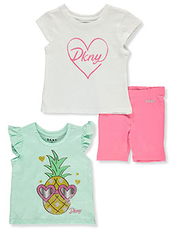 Glitter Love 3-Piece Bike Shorts Set Outfit by DKNY in Bright white