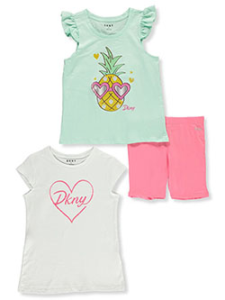 Tropical Vibes 3-Piece Bike Shorts Set Outfit by DKNY in Bright white