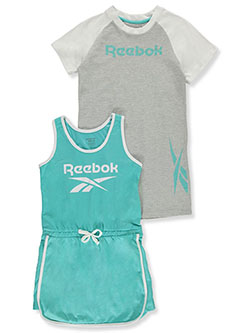 Girls' 2-Piece Romper & T-Shirt Dress Set by Reebok in blue and violet
