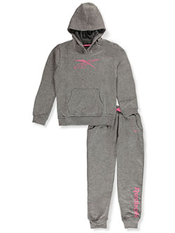 Girls' Logo 2-Piece Sweatsuit by Reebok in medium heather gray and shocking pink