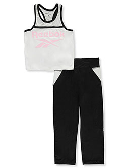Girls' 2-Piece Pants Set Outfit by Reebok in Black/white, Girls Fashion