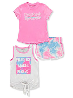 Girls' Tie Dye 3-Piece Shorts Set Outfit by Reebok in Sugar plum