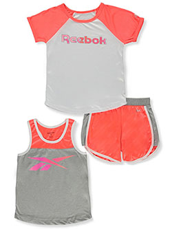 Girls' 3-Piece Mix-and-Match Set Outfit by Reebok in Neon sunset