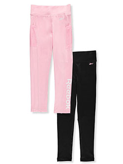 Girls' 2-Pack Leggings by Reebok in Black/pink, Girls Fashion
