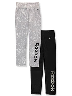 Girls' 2-Pack Leggings by Reebok in Black/gray, Girls Fashion