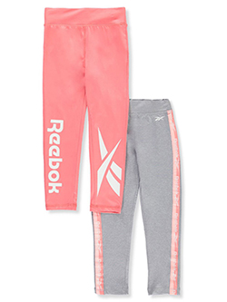 Girls' 2-Pack Leggings by Reebok in Peach, Girls Fashion