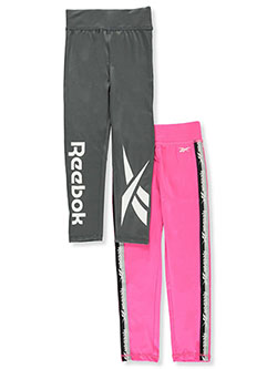 Girls' 2-Pack Leggings by Reebok in Charcoal, Girls Fashion