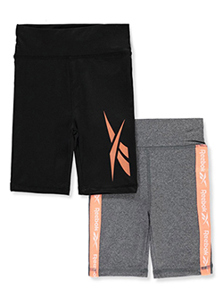 Girls' 2-Pack Bike Shorts by Reebok in Black/gray
