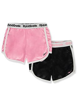 Girls' 2-Pack Dolphin Hem Shorts by Reebok in Pink/black, Girls Fashion