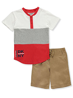 Color Block Twill 2-Piece Shorts Set Outfit by DKNY in Khaki