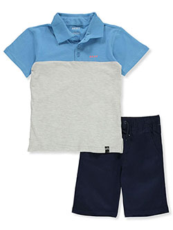 Boys' Color Block 2-Piece Shorts Set Outfit by DKNY in black, griffin and khaki