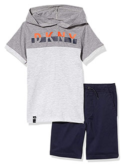 Color Block Short-Sleeve Hoodie 2-Piece Shorts Set Outfit by DKNY in Black