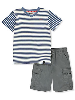 Boys' Cargo Stripes 2-Piece Shorts Set Outfit by DKNY in gray and khaki