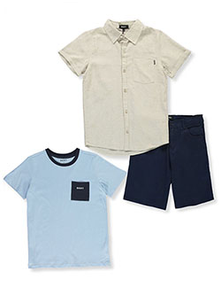 Boys' Casual 3-Piece Shorts Set Outfit by DKNY in Khaki