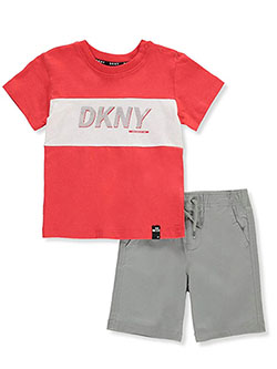 Silver Logo 2-Piece Shorts Set Outfit by DKNY in Gray