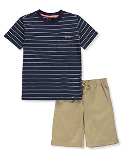 Stripes and Twill 2-Piece Shorts Set Outfit by DKNY in Khaki