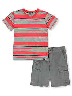 Boys' Cargo Stripes 2-Piece Shorts Set Outfit by DKNY in gray and navy