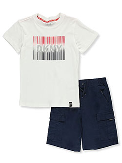 Box Logo 2-Piece Cargo Shorts Set Outfit by DKNY in Black