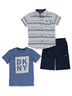 Boys' Cargo Stripes 3-Piece Shorts Set Outfit by DKNY in Khaki
