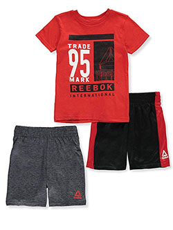 International 3-Piece Shorts Set Outfit by Reebok in Red