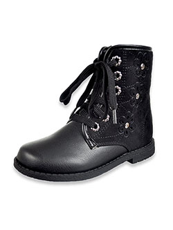 Girls' Delia Lace-Up Boots by Rachel in black and black multi