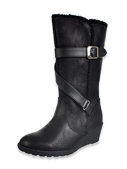 Girl' Whitley Calf Boots by Rachel in black and camel
