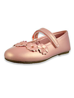 Girls' Lil' Masie Patent Leather Pumps by Rachel in blush and white