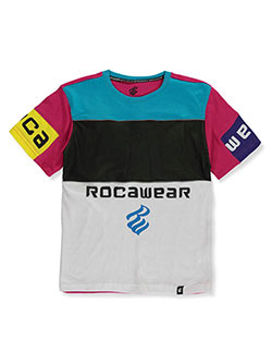 Reflective-Trimmed Colorblock T-Shirt by Rocawear in White