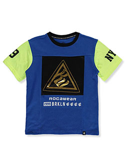 Boys' 3D Logo Block T-Shirt by Rocawear in blue and pink