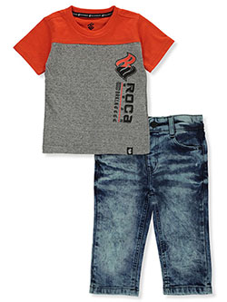 Baby Boys' Panel 2-Piece Jeans Set Outfit by Rocawear in Orange