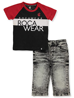 Raglan 2-Piece Jeans Set Outfit by Rocawear in Red, Infants