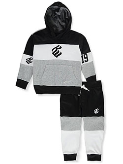 Boys' Pieced 2-Piece Sweatsuit Outfit by Rocawear in black, blue and timberland