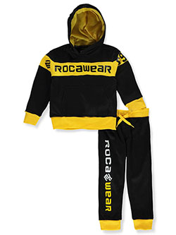 Logo Stripe 2-Piece Sweatsuit Outfit by Rocawear in black/red, black/yellow, heather gray and red/black
