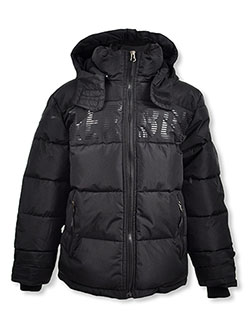 Boys' Line Logo Insulated Hooded Parka by Reebok in black and navy