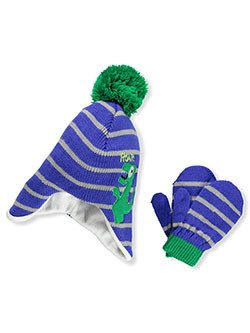 Boys' Beanie & Mittens Set by Connex Gear in blue/gray, blue/yellow and white/gray - $13.00
