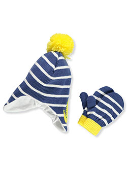 Boys' Beanie & Mittens Set by Connex Gear in Blue/yellow
