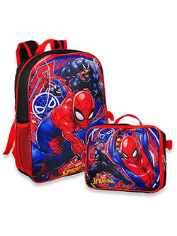 Marvel Spider-Man Backpack with Lunchbox by Spider-Man in Black/red