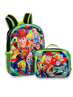 Toy Story 4 Backpack with Insulated Lunchbox by Disney in Navy blue-lime green, School Uniforms