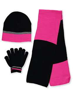 Girls' Paneled 3-Piece Winter Accessories Set by R. Glove in fuchsia, lime, purple and turquoise