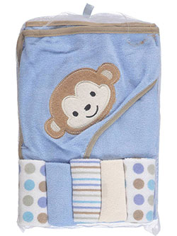 6-Piece Hooded Towel & Washcloth Set by Babies 2 Grow in Blue, Infants