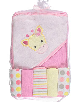 6-Piece Hooded Towel & Washcloth Set by Babies 2 Grow in Pink, Infants