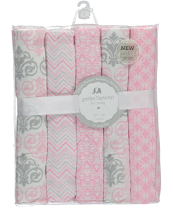 "Petite L'Amour Baby Girls' ""Fleur de Lis"" 5-Pack Receiving Blankets - CookiesKids.com"