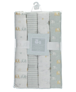 "Cribmates Baby Boys' ""Elephant Fun"" 4-Pack Receiving Blankets - CookiesKids.com"